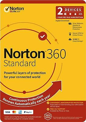 Norton Internet Security Standard 2020 2 device PC Fast email license key 1 Year