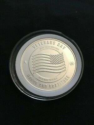 Veterans Day Land Of The Free 1Oz Fine Silver Bullion Round / Coin