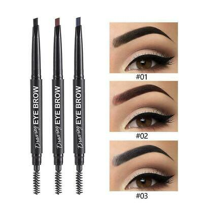 Double-end Eyebrow Pencil Retractable Slant Tip with Brush Waterproof M7I2