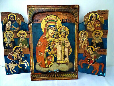 Authentic Antique Russian Orthodox triptych wooden icon - 18th century