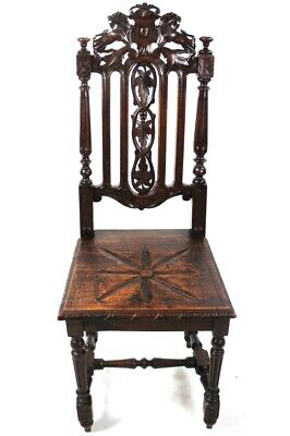 Antique Victorian Carved Oak Hall Chair - FREE Shipping [5644]