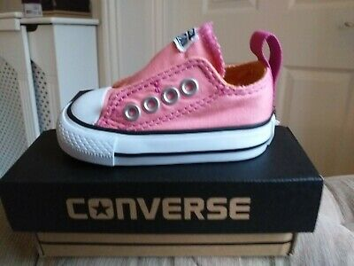 Converse Genuine low top Pink slipon velcro size infant 2s only  £12