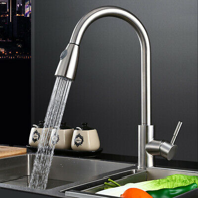 Kitchen Sink Mixer Taps with Pull Out Spray Tap Single Handle 360° Swivel Spout