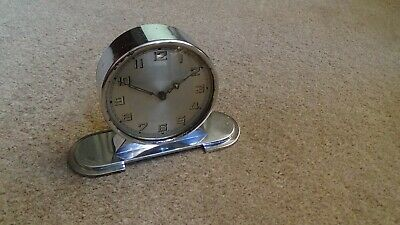 Vintage 1930'S Art Deco Chrome Mantel / Bedside Clock