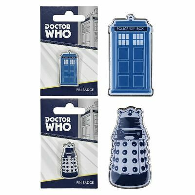 Doctor Who TARDIS Or Dalek METAL PIN BADGE BBC Lapel Brooch Official