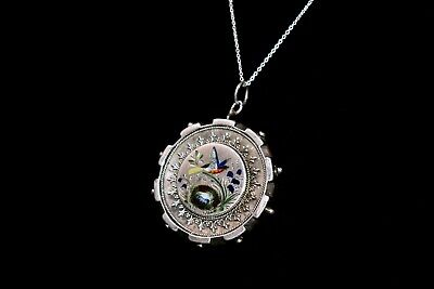 ANTIQUE Victorian AESTHETIC STERLING HAND PAINTED ENAMEL BIRD Pendant Necklace