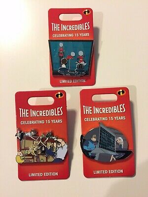 Disney Parks Pixar The Incredibles 15th Anniversary Compete Pin Set LE 3000 Pin