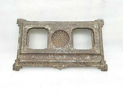 Antique Victorian Cast Iron Fine Pen Holder Stand Base For Inkwell Bottle  MP