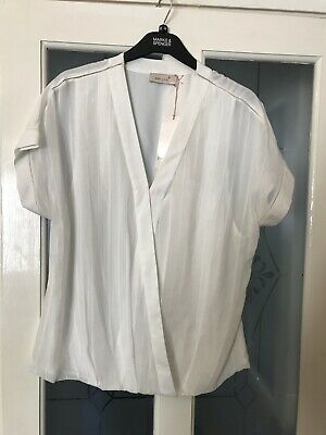RRP £89 HOBBS Maive Muted Grey//Ivory Top Blouse Various Sizes BNWT.