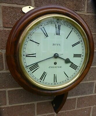 """Antique 8"""" Wall clock/timepiece by Butt Chester 1880 c Fully working"""
