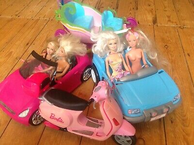 Barbie Dolls X4 With 1 Jeep, 1 convertible Car, 1 Scooter And 1 Carriage