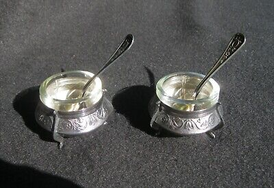 TWO Russian Salt Cellars with Spoons by Siommet
