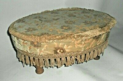 Vintage Retro Oval Small Fringed Footstool with Turned Legs Beige Floral Design