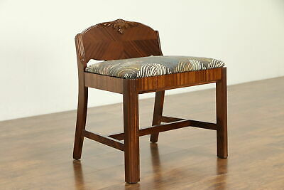 Art Deco 1930's Vintage Vanity Bench or Chair, New Upholstery #32221