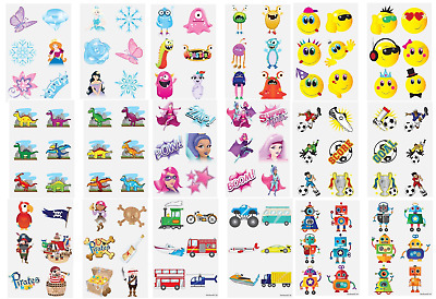 72 x Kids Boys Girls Temporary Tattoos Transfers Fun Party Loot Bag Fillers
