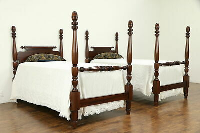 Pair of Antique 4 Poster Mahogany Single or Twin Beds, Acorn Finials #32267