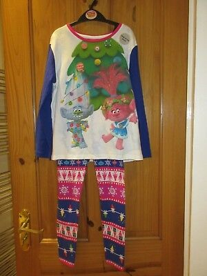BNWT Dreamworks Trolls girls Sparkly Christmas pyjamas age 7 - 8 years