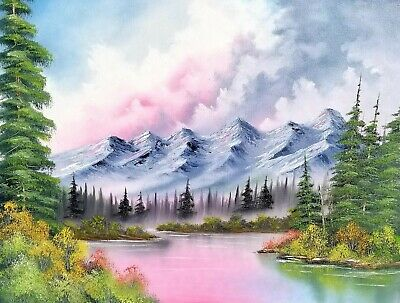"Bob Ross Style Original Oil Painting ""Peaceful Ridge"" by seller on 24x18 canvas"