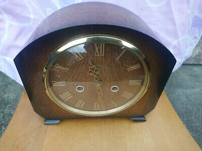 Smiths Art Deco 8 Day Striking Mantel Clock Oak Case  G. W. O