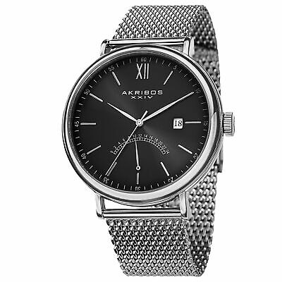 New Men's Akribos XXIV AK731SSB Quartz GMT Black Dial Date SS Mesh Watch
