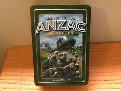 Limited Edition Anzac Biscuits Unibic tin, Vietnam & RSL story