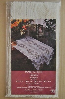 "LINENS-TABLE RUNNER ""Special Price"" 38x80cm Cream Acrylic Crochet Lace Runner"