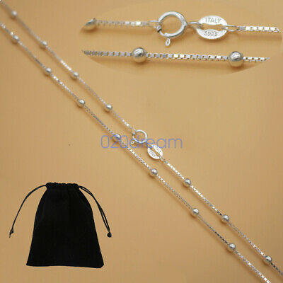 """Real Solid 925 Sterling Silver Box Chain W/ Bead Necklace 16-28"""" Inches Stamped"""