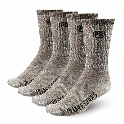 PEOPLE SOCKS Men's Women's Merino wool crew socks 4 pairs 71% premium with Arch