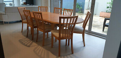 Parker mid century retro timber chairs and extendable dining table
