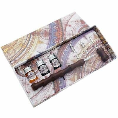 GC Quill Calligraphy Pen Set-Natural Bamboo Dip Pen with Ink and Nibs Set