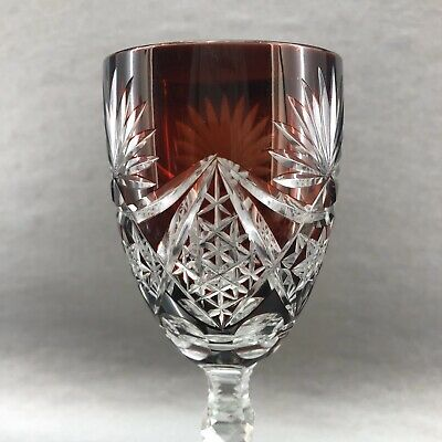 Antique c.1920 Ruby Red Cut to Clear Crystal Tall Hock Wine Glass Stemware Vtg