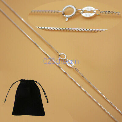 Real Solid 925 Sterling Silver Box Chain Necklace Ladies Stamped Italy All Sizes
