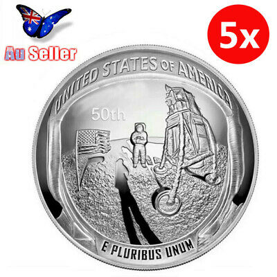 5Pcs 2019 50th Anniversary of the Moon Landing Silver Proof Coin Gift Set AU
