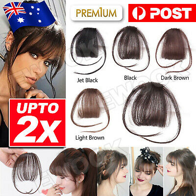 Clip In on Bangs Fringe Fake Hair Extensions Straight Front Neat Hair as Human