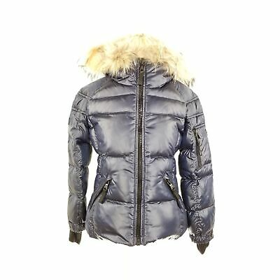 SAM Kids Puffer Jacket Coat Fur Lined Hood Goose Down Feather Fill Blue Size 6