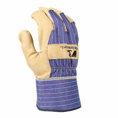 Heavy Duty Grain Leather Work Gloves with Safety Cuff, Leather Palm, Large (W...