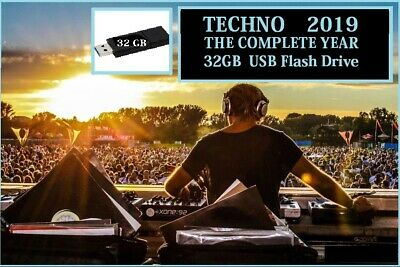 Techno DJ Collection - 2019 The Complete Year - 32GB USB Drive -  MP3 320KPS