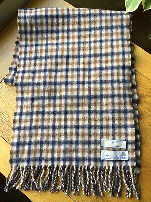 Vintage Aquascutum Scarf club check Made In Scotland, Lambs wool VGC
