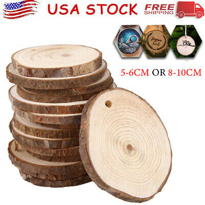 50PCS Wood Log Slices Pine Round Slices Wedding Pyrography DIY Crafts Decoration