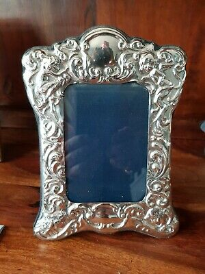 Solid Silver Photo frame Fully Hallmarked Stunning Embossed Work With Angelic...