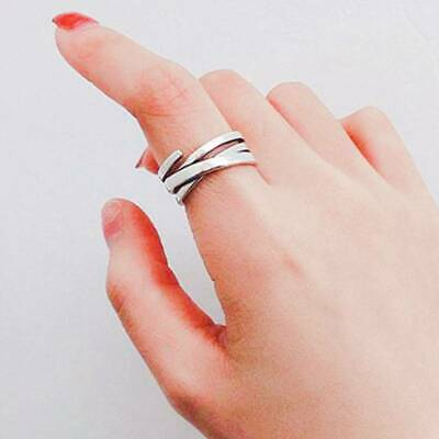 Women Silver Multi-layer Winding Engagement Ring Party Jewelry C