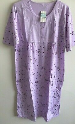 Ladies 'Lucky Brand' Poly/Cotton S/Sleeved Purple Floral Nightdress Size 20/22