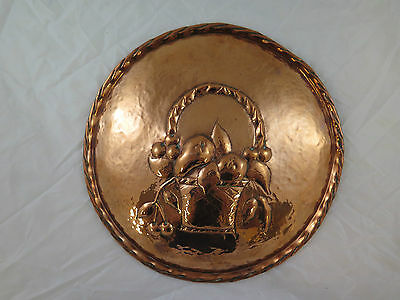 Antique Plate Copper Wall Handcrafted a Embossed Nature Still Denmark r10