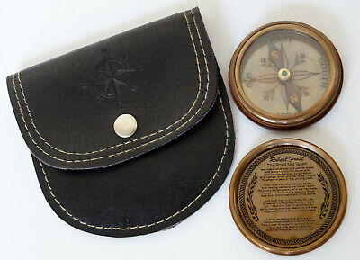 "Solid Brass Wender Lost Pocket 2"" Compass With Leather Case Collectible Item"