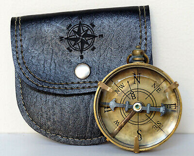 "Solid Brass Dollond London Pocket 2"" Compass With Leather Case Collectible Item"