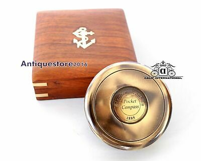 Nautical Brass Stanley London 1885 Pocket Compass w/ Wooden Box Collectible Gift