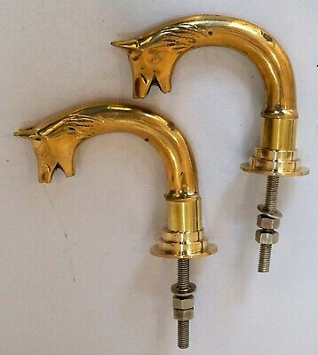 Set of 2 Pieces brass dog head style door handle push & pull home decorative