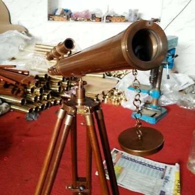 Nautical Vintage US Navy Marine Brass Telescope with Wooden Tripod Antique Gift