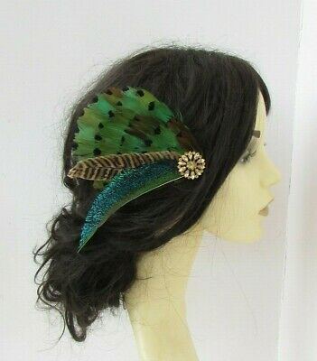 Green Brown Black Gold Peacock Pheasant Feather Fascinator Hair Clip Races 7714