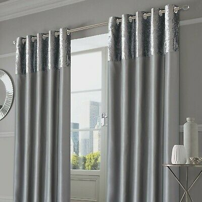 Sienna Pair of Crushed Velvet Band Curtains Fully Lined Eyelet Ring Top Faux ...